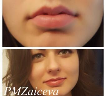 Татуаж губ с растушевкой, фото, естественный цвет