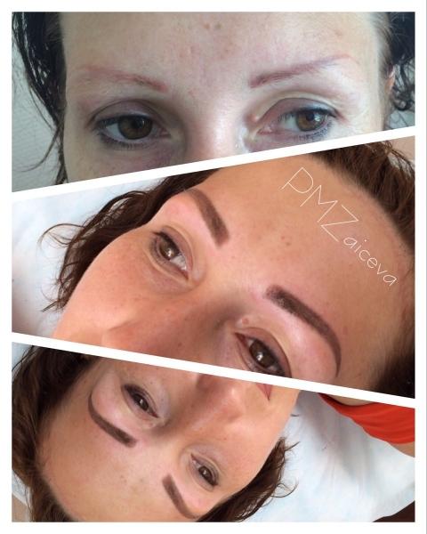 Перманентный макияж бровей волосковый метод фото