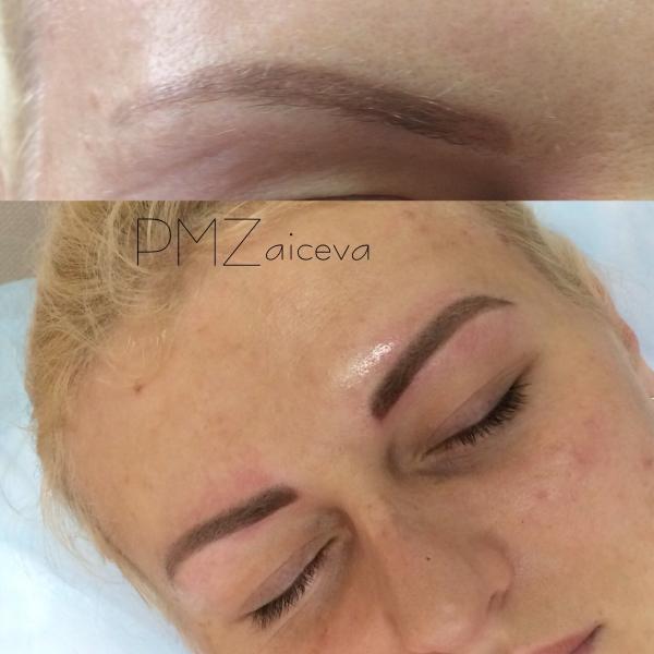 Как делают волосковый татуаж бровей фото